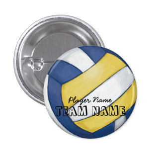 Volleyball Team Name and Number Pinback Button