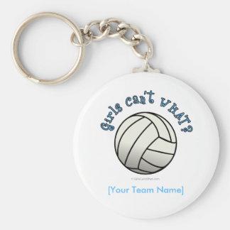 Volleyball Team - White Basic Round Button Keychain