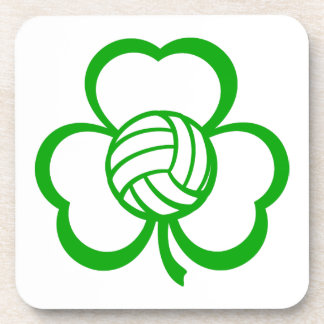 Volleyball Three Leaf Clover for St. Patrick's Day Beverage Coaster