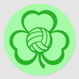 Volleyball Three Leaf Clover for St. Patrick's Day Classic Round Sticker