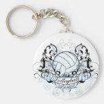 Volleyball Tribal Basic Round Button Keychain