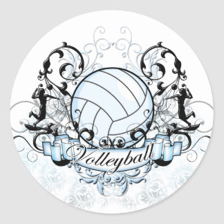 Volleyball Tribal Classic Round Sticker