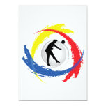 """Volleyball Tricolor Emblem (Male) 5"""" X 7"""" Invitation Card"""