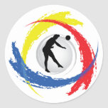Volleyball Tricolor Emblem (Male) Round Stickers