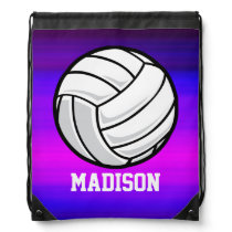 Volleyball; Vibrant Violet Blue and Magenta Drawstring Backpack