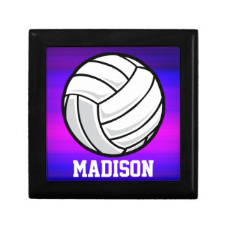 Volleyball; Vibrant Violet Blue and Magenta Keepsake Boxes