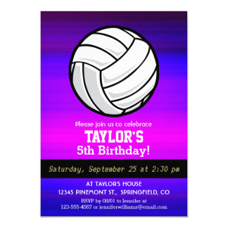 """Volleyball; Vibrant Violet Blue and Magenta 5"""" X 7"""" Invitation Card"""