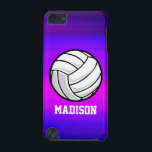 "Volleyball; Vibrant Violet Blue and Magenta iPod Touch (5th Generation) Cover<br><div class=""desc"">Cool, colorful kid&#39;s volleyball, volleyball coach, player, black and white ball, beach or indoor volleyball, sports design on pink, purple, violet blue, magenta, fuchsia color pattern. Perfect gift for baby, toddler, kids, children, teens, or adults! Personalized the design by adding a child&#39;s name or custom text with athletic, sporty look...</div>"