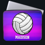 """Volleyball; Vibrant Violet Blue and Magenta Laptop Sleeve<br><div class=""""desc"""">Cool, colorful kid&#39;s volleyball, volleyball coach, player, black and white ball, beach or indoor volleyball, sports design on pink, purple, violet blue, magenta, fuchsia color pattern. Perfect gift for baby, toddler, kids, children, teens, or adults! Personalized the design by adding a child&#39;s name or custom text with athletic, sporty look...</div>"""