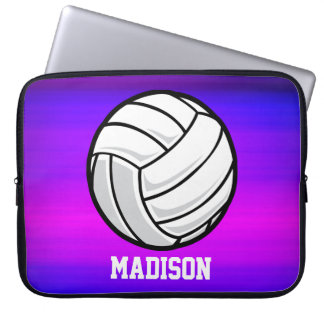 Volleyball; Vibrant Violet Blue and Magenta Laptop Sleeve