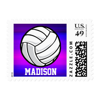 Volleyball; Vibrant Violet Blue and Magenta Postage Stamps