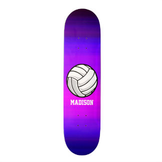 Volleyball; Vibrant Violet Blue and Magenta Skate Board Deck
