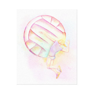 Volleyball Watercolor Spike Canvas Print