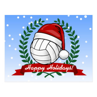 Volleyball wearing a Christmas hat Custom Postcard