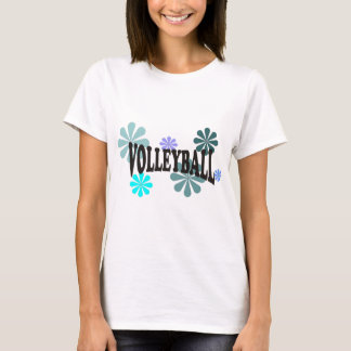 Volleyball with Blue Flowers T-Shirt