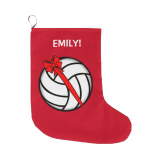 Volleyball with Bow Name Customizable Large Christmas Stocking