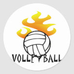 Volleyball with Flames Classic Round Sticker