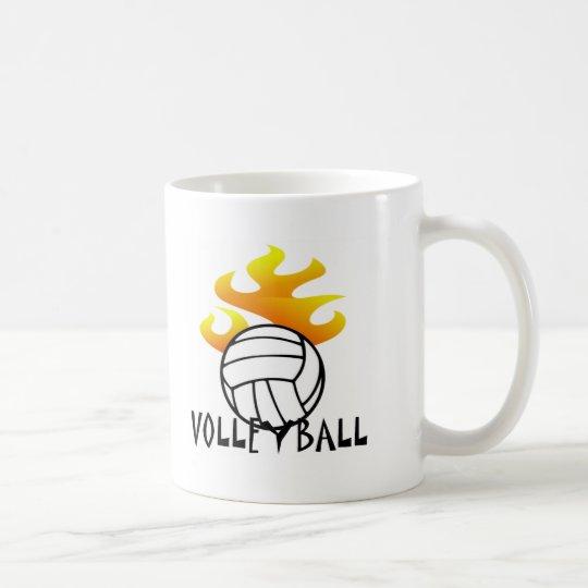 Volleyball with Flames Coffee Mug