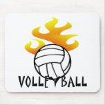 Volleyball with Flames Mouse Pad