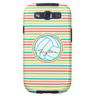 Volleyball with Name; Bright Rainbow Stripes Samsung Galaxy S3 Covers