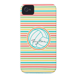 Volleyball with Name; Bright Rainbow Stripes iPhone 4 Case-Mate Cases