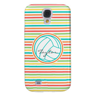 Volleyball with Name; Bright Rainbow Stripes Galaxy S4 Covers