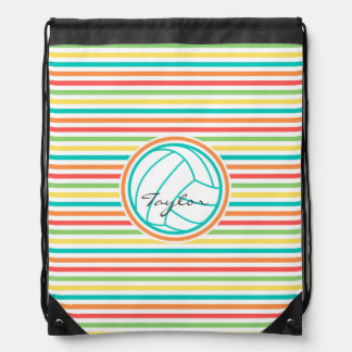 Volleyball with Name; Bright Rainbow Stripes Drawstring Backpack