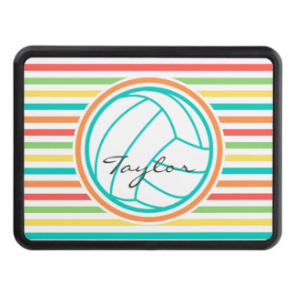 Volleyball with Name; Bright Rainbow Stripes Hitch Cover