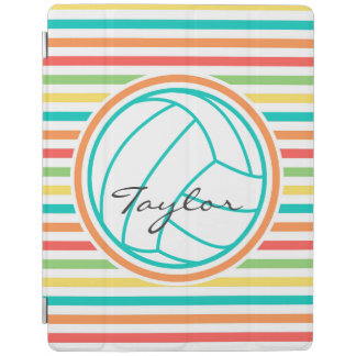 Volleyball with Name; Bright Rainbow Stripes iPad Cover