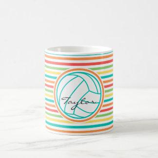 Volleyball with Name; Bright Rainbow Stripes Coffee Mug