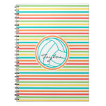 Volleyball with Name; Bright Rainbow Stripes Notebook