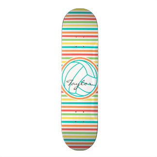 Volleyball with Name; Bright Rainbow Stripes Custom Skateboard