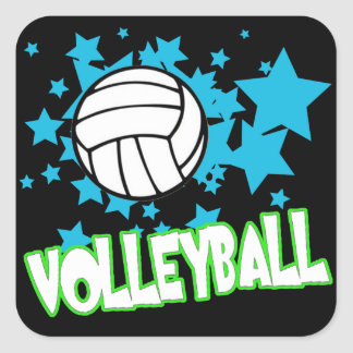 Volleyball with Stars Square Sticker