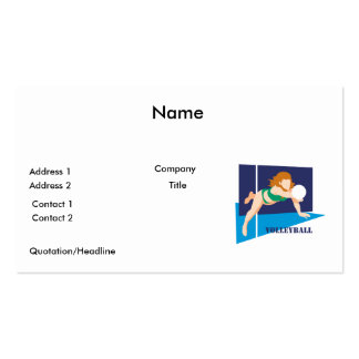 volleyball womens girls Double-Sided standard business cards (Pack of 100)