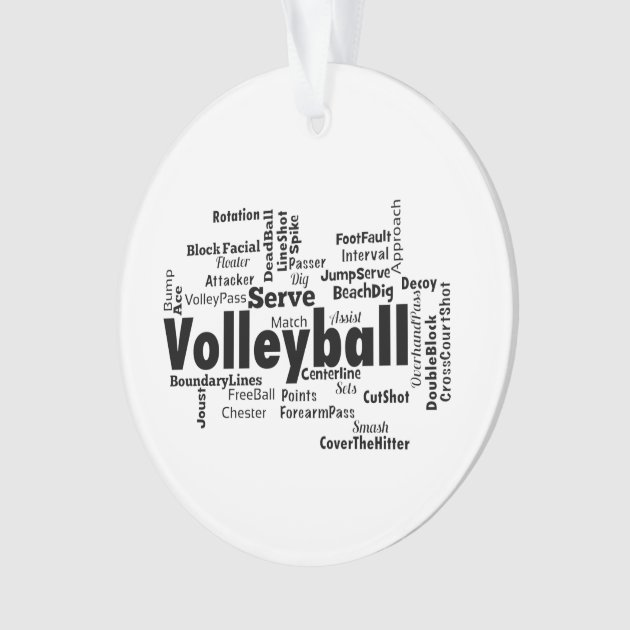 volleyball word cloud ornament