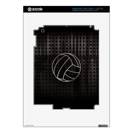 Volleyballl; Cool Black Decal For iPad 3
