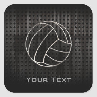 Volleyballl; Cool Black Square Sticker