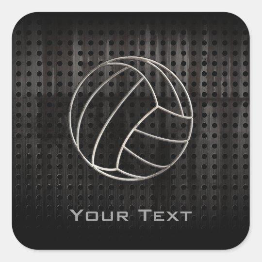 Volleyballl; Cool Black Square Sticker