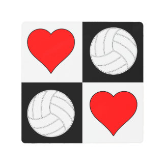 Volleyballs and Hearts Black & White Checkered Art