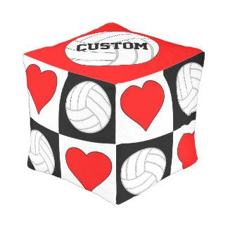 Volleyballs & Hearts Black & White Checkered Pouf