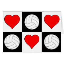 Volleyballs & Hearts Cute Checkered Greeting Card
