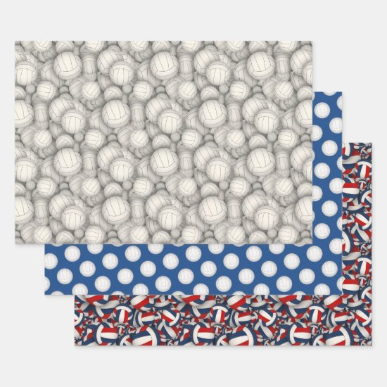 volleyballs pattern any occasion wrapping paper sheets