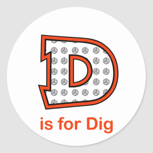 VolleyChick D is for Dig Stickers