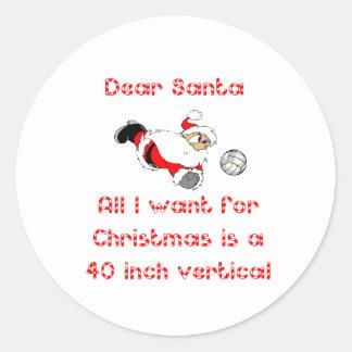 VolleyChick Dear Santa 1 side Round Sticker