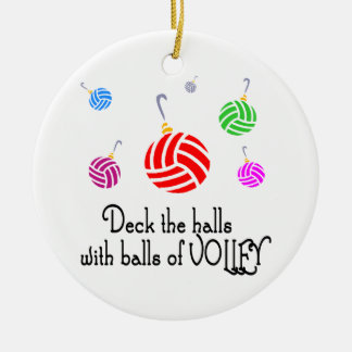 VolleyChick Deck the Halls Double-Sided Ceramic Round Christmas Ornament
