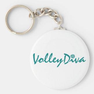 VolleyChick Diva Basic Round Button Keychain
