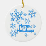 VolleyChick Happy Holidays Snowflake Double-Sided Ceramic Round Christmas Ornament