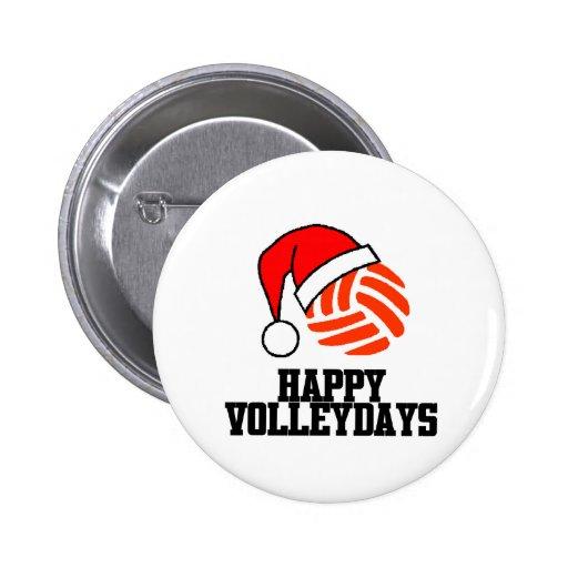 VolleyChick Happy Volleydays Santa Ball Pinback Buttons