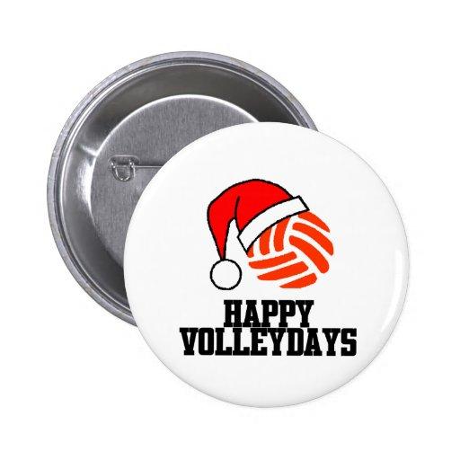 VolleyChick Happy Volleydays Santa Ball Button