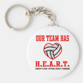 VolleyChick Heart Basic Round Button Keychain